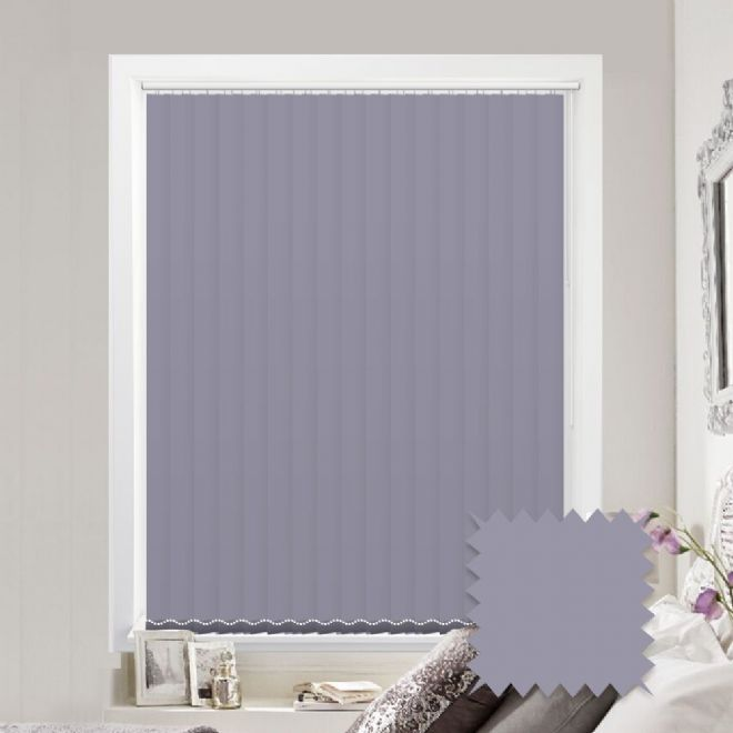 Made to measure vertical blinds in Splash Sloe Lilac plain fabric - Just Blinds